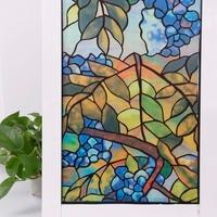 HOHOFILM Static Window film PVC Privacy Films No Glue 3D Static Flower Decoration Window Glass Sticker Size 92cmx2000cm