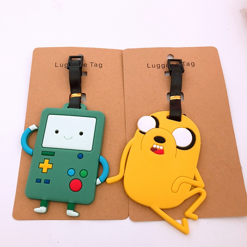 Cartoon Adventure With Finn And Jake PVC Key Chain Funny Anime Soft Rubber Luggage Tag Boarding Pass Bag Tags Hanging 2019 Time
