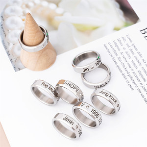 Kpop Ring Stainless Steel JHOPE Finger Rings Jewelry Rings Accessories for Men Women Female Bangtan Boys Jewelry(China)