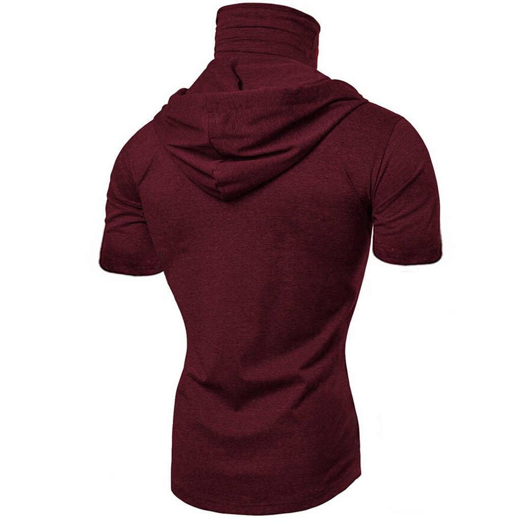 ファッション半袖マスクフード付きtシャツ男性カジュアル弾性固体tシャツヒップホップスリム男性のtシャツストリートM-3XL