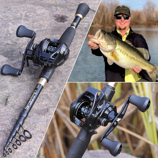1.8-2.4m Telescopic Casting Fishing Combo Portable Ultralight Rod and 7.2:1 Gear Ratio Fishing Reel Fishing Combo 6