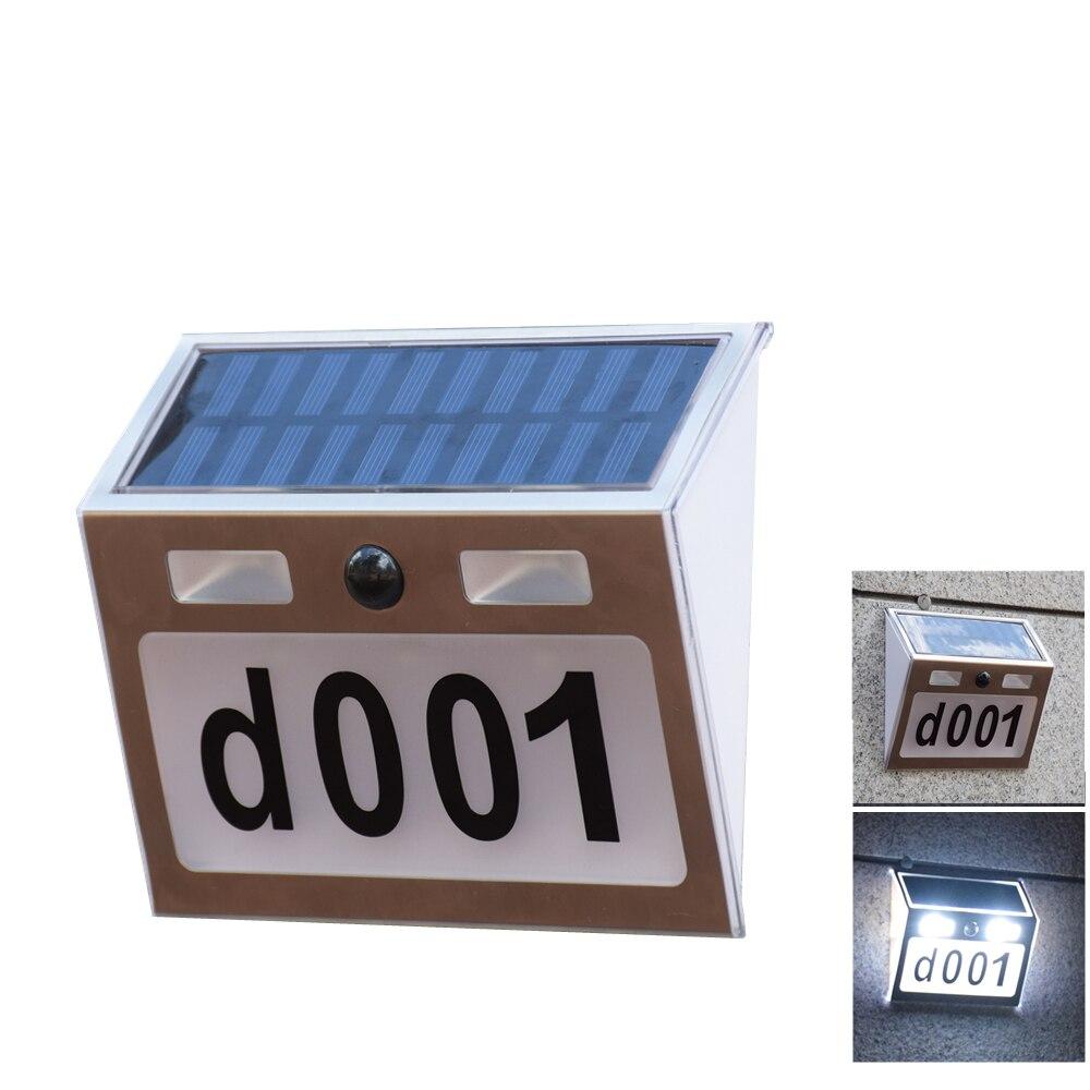 Número da casa de Luz Ao Ar Livre Sensor de Movimento Luz Solar Doorplate Número Carta Para Casa Solar Jardim Lâmpada de Parede com o Número Da Porta À Prova D' Água
