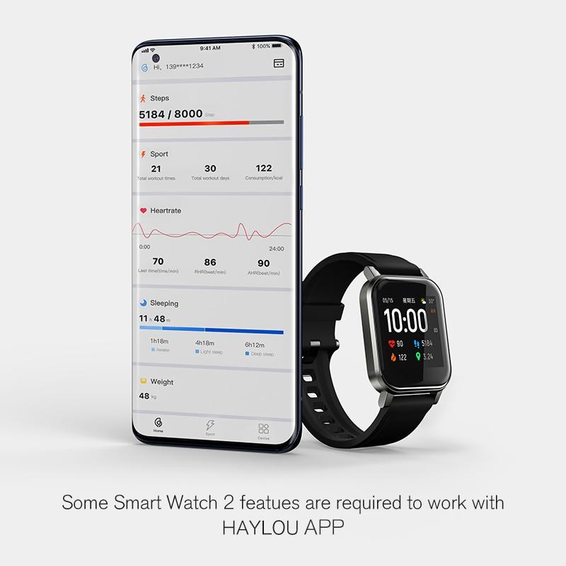 Новинка, хит продаж, Смарт-часы Haylou LS02, английская версия, водонепроницаемость IP68, 12 спортивных режимов, напоминание о звонках, умный Браслет Bluetooth 5,0-5