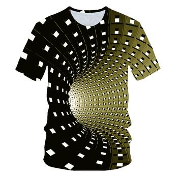 Spersonalizowany wizualny nadruk 3D vortex dziecięcy okrągły dekolt z krótkimi rękawami luźna koszulka letnia dla chłopców z motywem sportowym i dziewczęcym fajny top tanie i dobre opinie Poliester spandex Aktywny Tees Pasuje prawda na wymiar weź swój normalny rozmiar Children s T-shirt Unisex O-neck Drukuj