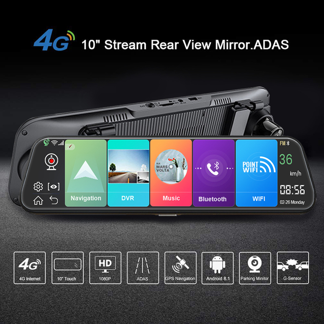 4G 10 Inch Dash Cam Car Android 8.1 Rearview 1