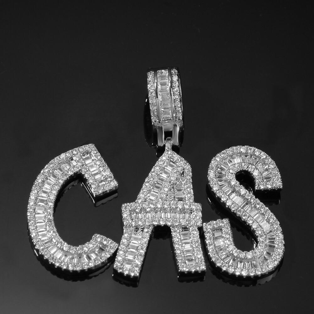 Custom Name Cubic Zircon Baguette Letters Hip Hop Pendant Chain Gold Silver Men's Jewelry With Tennis Chain For Gift