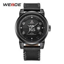 WEIDE Männer Top Marke automatische Datum Lederband bracelt gürtel Mode Lässig Quarz Armbanduhr Relogio Masculino dropshipping