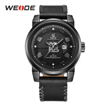 WEIDE Men Top Brand automatic Date Leather Strap bracelt belt Fashion Casual Quartz Wristwatch Relogio Masculino dropshipping