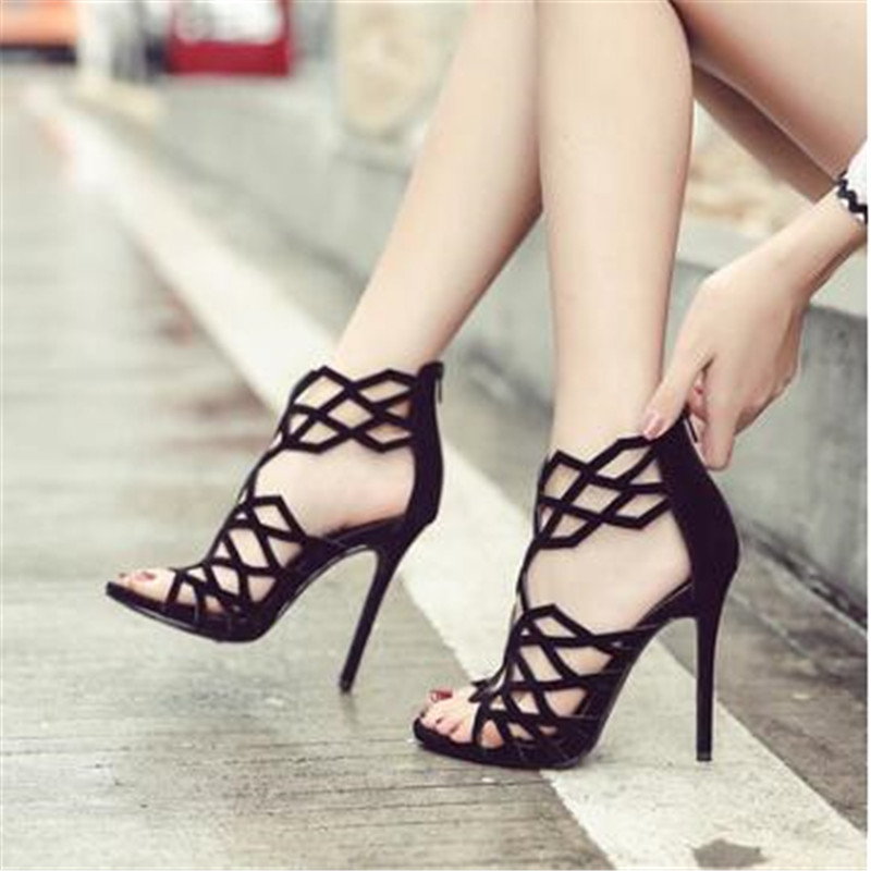 Women summer Casual Sexy cutout high-heeled sandals woman crystal rivets slides Shoes woman woman Fashion sandals