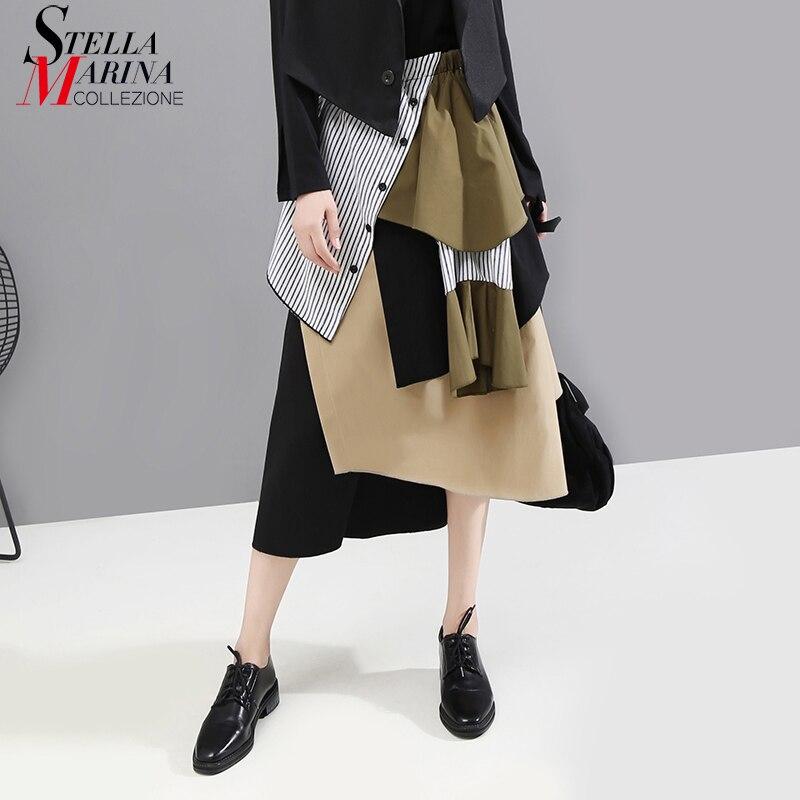 Новинка 2019, корейский стиль, женская винтажная Лоскутная юбка, эластичная талия, длина до середины икры, Женская стильная повседневная Асимметричная юбка, 5401