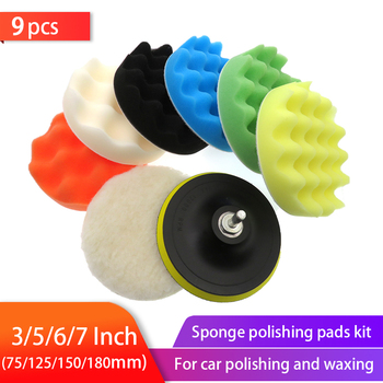 9pcs Buffing Sponge Pad Set 3/5/6/7 Inch Car Polishing Kit Auto Waxing with M14 Drill Adaptor For Cleaning Tools - discount item  30% OFF Power Tools