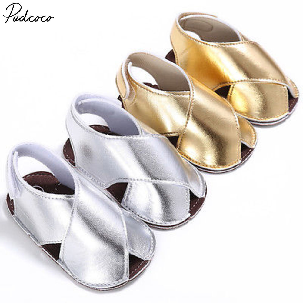 Pudcoco Lovely Newborn Baby Girl Summer Shoes Soft Sole Sandals Leather Anti-slip 0-18m