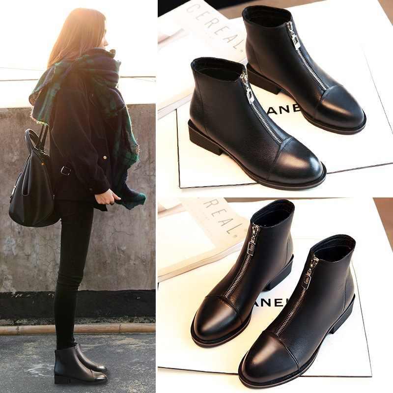 2018 sonbahar ve kış kadın moda yarım çizmeler siyah kanca döngü bayan Hip Hop sonbahar ayakkabı kadın botları