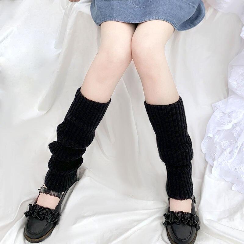 Однотонные черные крутые вязаные длинные носки JK Sfree, женские уличные эластичные гетры до колена, теплые японские носки в стиле хип-хоп и рок