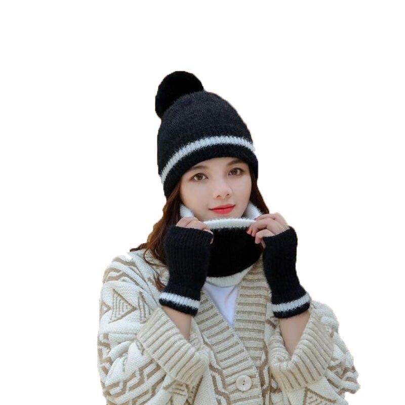 3pcs Set Hat Scarf Gloves Women Crochet Hat Fur Woolen Knit Thick Knitted Cap Winter Beanie Female Plush Ball  Pom Pom Cap Beani