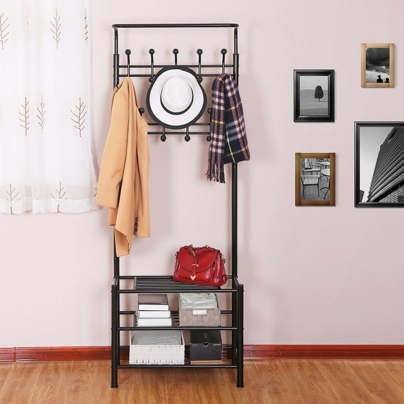 Multifunction Floor Coat Rack Metal Floor Standing Clothes Hanging Storage Shelf 3 Layer Shoe Rack Bag Holder 185*66*30cm HWC