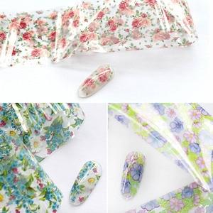 Image 3 - 1 Box Mix Rose Flower Nail Foil Polish Stickers set Nail Transfer Foil Paper Starry Nail Art Sticker Decoration Nails Wraps tool