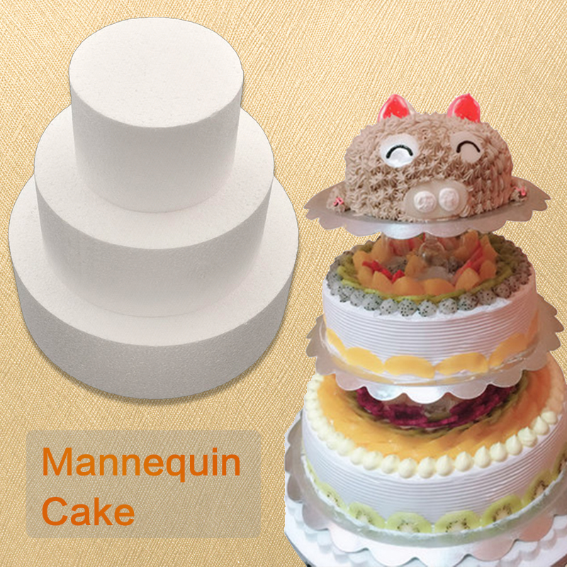 New 4/6/8/10 Inch Cheap Party DIY Patrice Model Cake Dummy Sugarcraft Foam Mould Round Polystyrene Styrofoam Kitchen Accessories