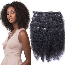 Human-Hair-Extensions Thick-Hair Curly Clip Ins Full-Head Afro for Black Women 120gram