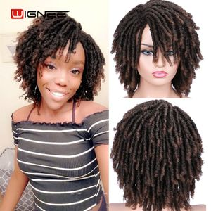 Image 2 - Wignee Short Soft Brown Dreadlocks Synthetic Wigs For Women Faux locs Afro Kinky Curly Hair With Bangs Crochet Twist Hair Wigs