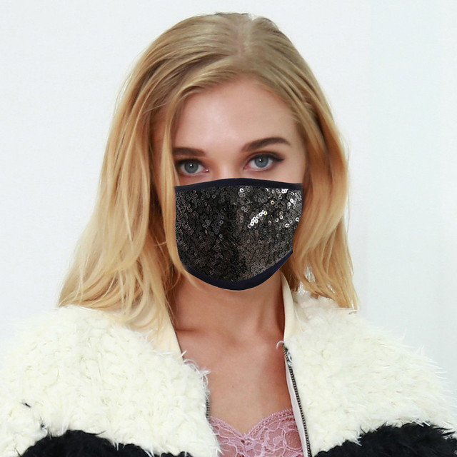 #H40 Fashion Sequin Face Mask Women Dustproof Windproof Face Mouth Mask Breathable Reusable Washable Cycling Mask