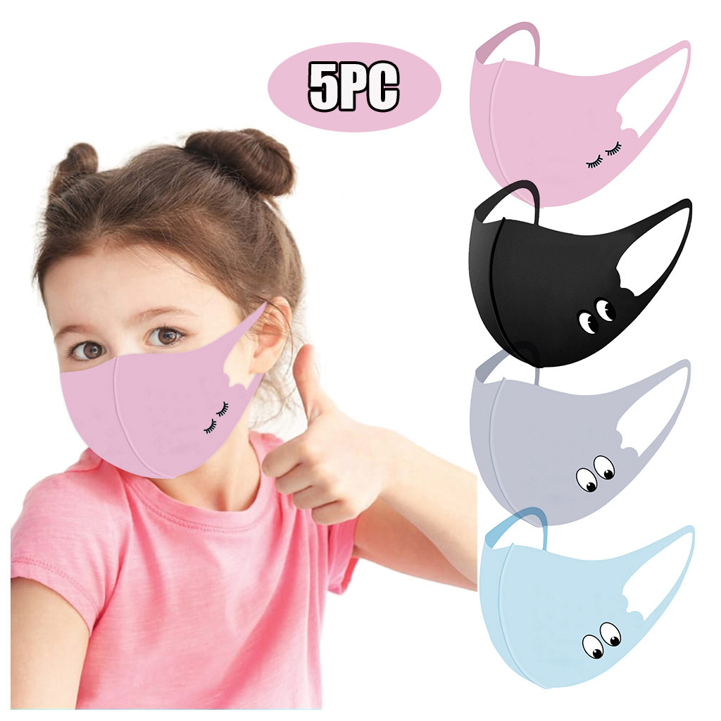 5 pièces enfants enfants belle bande dessinée tissu masque facial lavable respirant protecteur drôle masque facial anti-poussière cyclisme couverture extérieure