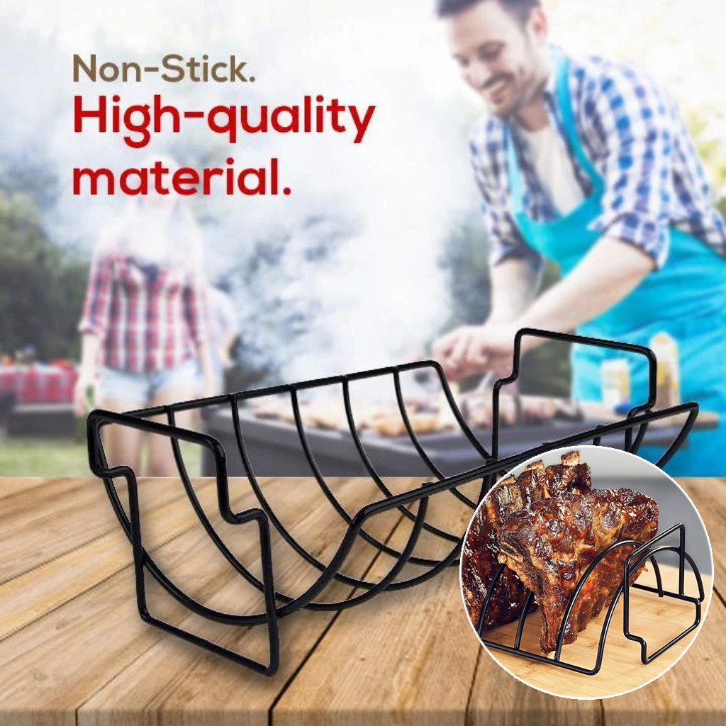 Non-stick Rib Shelf Stand Barbecue Rib And Roast Rack Stainless Steel Grilling Bbq Chicken Beef Ribs Rack Grilling Basket #LR3 image