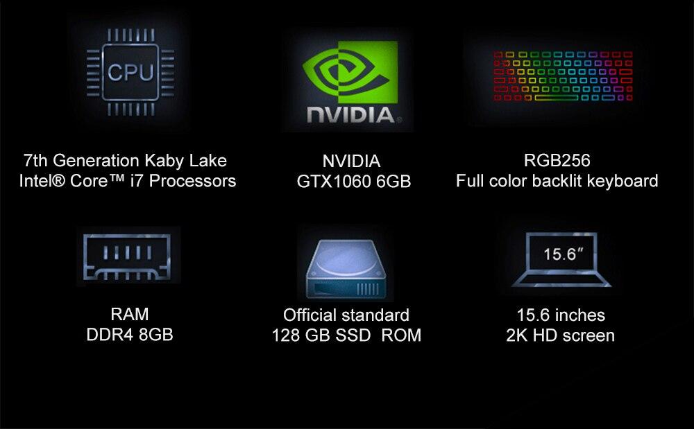 "H05a6adf5e7714aac90f85ae5d404d9d2V 15.6"" Intel Core i7-7700HQ NVIDIA GTX1060 Dedicated Graphics Windows 10 8GB RAM 512GB SSD Game Laptop Backlit Keyboard Notebook"