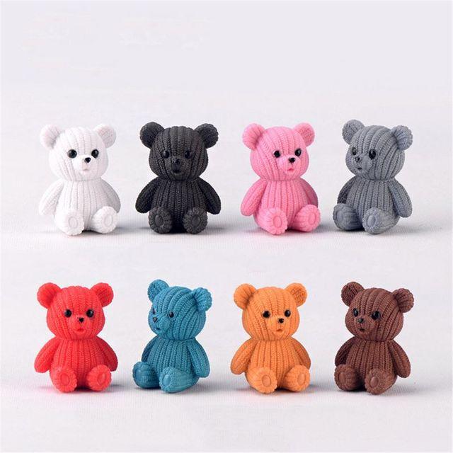 2020 popular party home decoration accessories Cute plastic teddy bear miniature fairy Easter animal garden figurines home decor