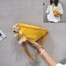 Cute Bear Waist Bag Canvas Chest Bag New Korean Student Messenger Waist Bag
