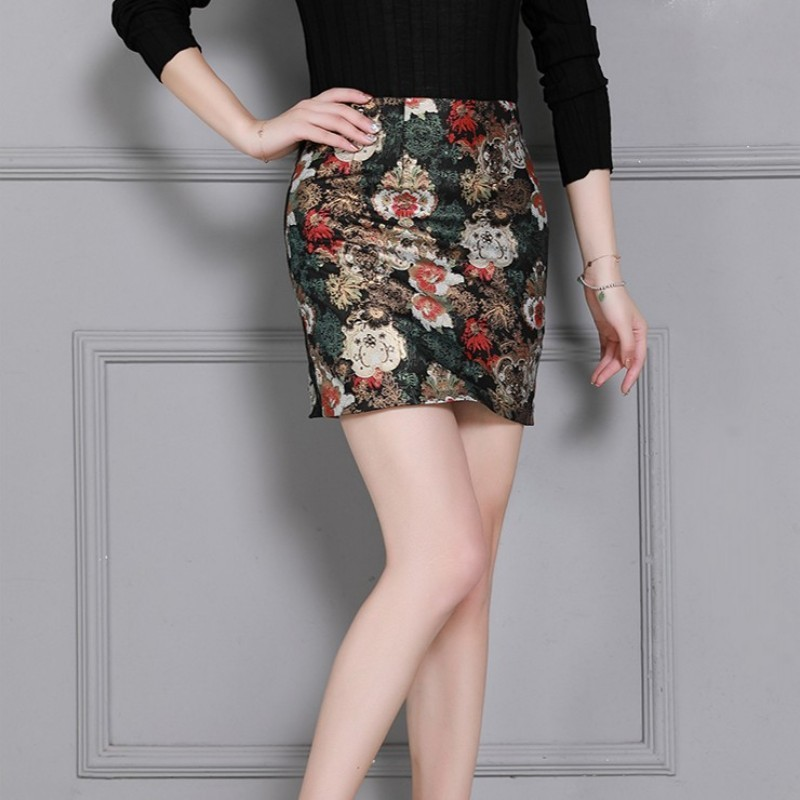 Women Top Quality Sheepskin Real Leather Wrap Skirts Slim Sexy Mini Office Ladies Vintage Floral Printed Bodycon Leather Skirt