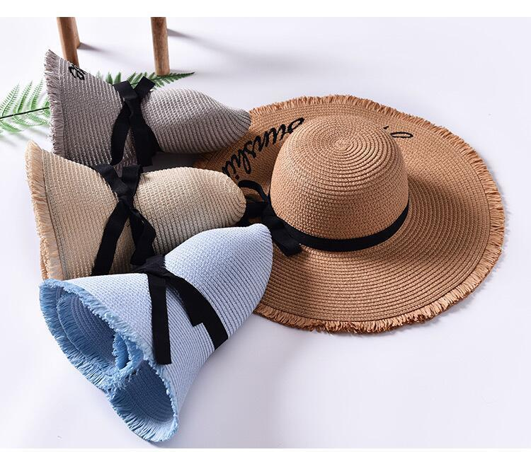 H05a6fb950e504623ba8ef0b7fcbf9381P - Handmade Weave letter Sun Hats For Women Black Ribbon Lace Up Large Brim Straw Hat Outdoor Beach hat Summer Caps Chapeu Feminino