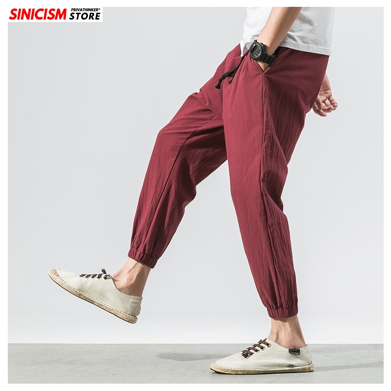 Sinicism Store Men Cotton Linen Summer Casual Pants Mens 2020 Loose Ankle-Length Trousers Male Oversize Chinese Style Pants 5XL