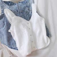 ¡Disponible! ¡NOVEDAD DE VERANO 2020! camisolas de encaje para mujer con escote en V y Blanco sólido corta, camisetas para mujer, envío en 24 horas