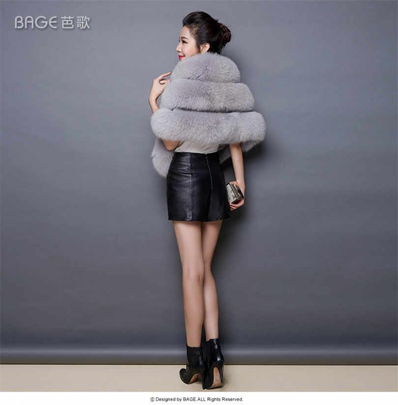 Mùa Đông 2020 Giả Áo Khoác Lông Thú Sang Trọng Cáo Lông Thú Giả Lông Chồn Đuôi Nơ Váy Cưới Cô Dâu Chân Mũi Nữ Áo Lông Thú áo Khoác