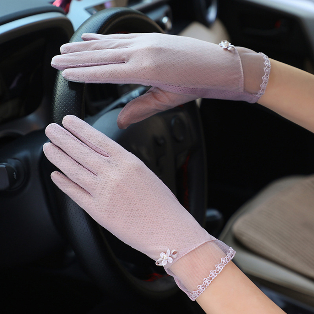 Anti-slip Full Finger Sunscreen Gloves New Arrivial Women Elastic Touch Screen Mittens Glove Lady Breathable Glove