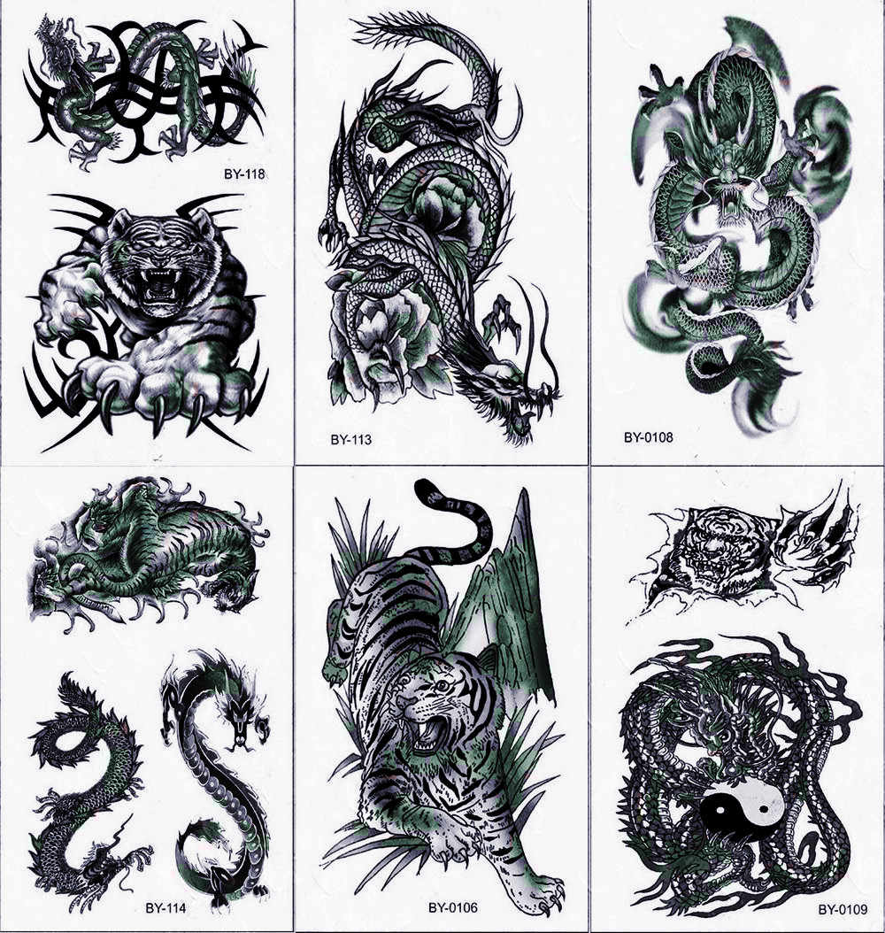 Black Tiger Dragon Temporary Tattoos Body Art Arm Leg Tattoo Paper for Men Women Fake Animal Monster Sticker Shoulder Back Tatto
