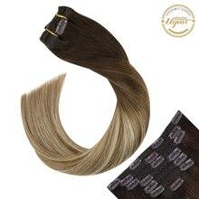 Удлинители волос Ugeat на клипсе, настоящие человеческие волосы Remy, хайлайтер, светлый цвет #3/8/22, накладные волосы на всю голову с клипсой, 120 г/7...
