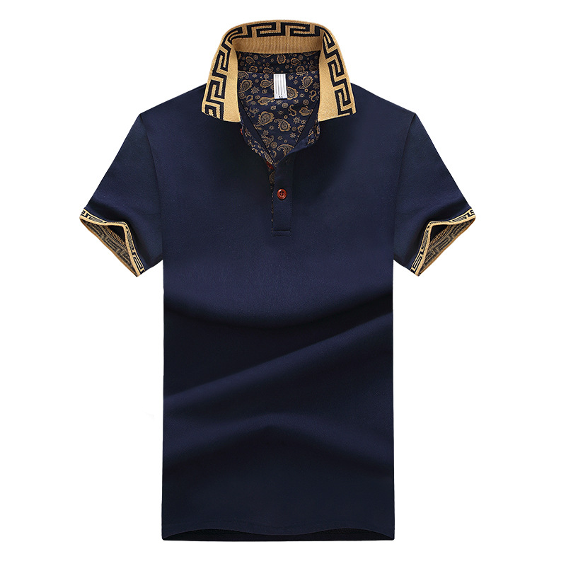 New Men's   Polo   Shirt Cross-border Explosive Short Sleeve Summer Fresh Breathable Simple Fashion Leisure Lapel Button Short T 19