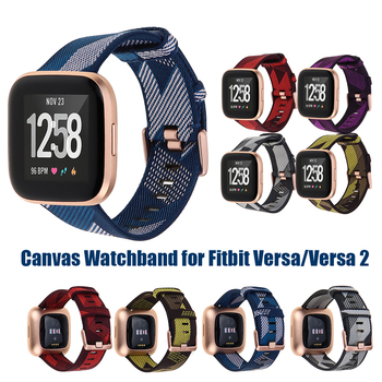 Canvas strap for Fitbit Versa/Versa 2 Band Replacement Accessories Smart Watch Strap for Fitbit Versa 2 Vesa Lite Band tencloud replacement strap for fitbit versa 2 band stainless steel metal bracelet for versa versa lite smart watch wristband