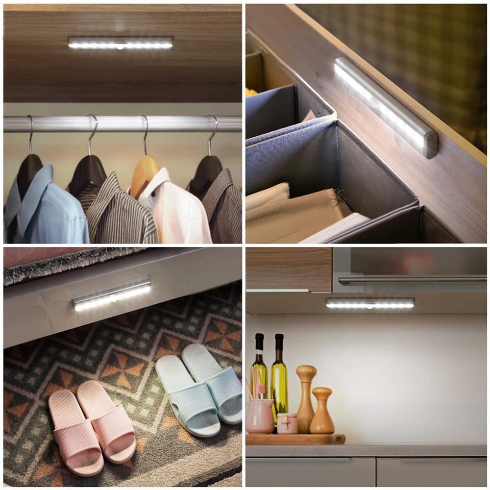 Led Under Cabinet Light With PIR Motion Sensor Lamp 6/10 LEDs 98/190mm Lighting For Wardrobe Cupboard Closet Kitchen Night Light