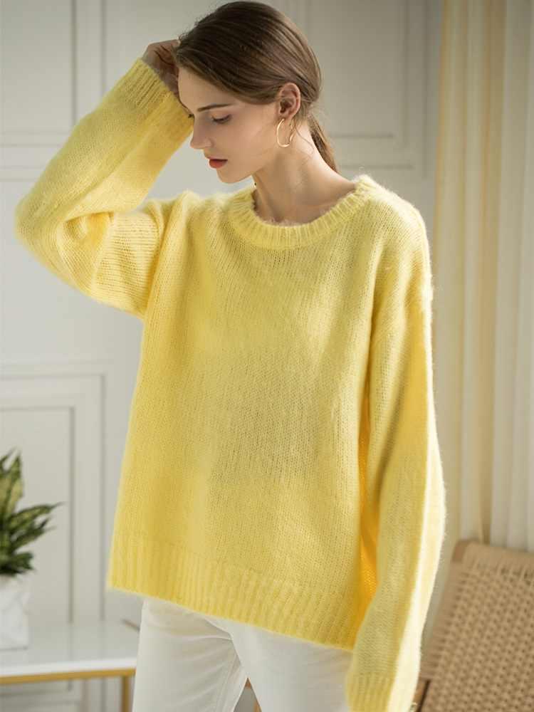 Colorfaith Новинка 2019 осень зима женский свитер Пуловеры минималистичный с круглым вырезом элегантный офисный женский свободный Однотонный женский топ SW6245
