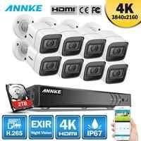 ANNKE 4K Ultra HD 8CH CCTV Cámara sistema de seguridad H.265 DVR 8 Uds 8MP CCTV sistema IR al aire libre visión nocturna Video vigilancia Kit