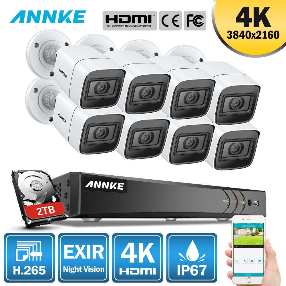 Annke 4 k ultra hd 8ch cctv câmera sistema de segurança h.265 dvr 8 pces 8mp cctv sistema ir visão noturna ao ar livre kit de vigilância de vídeo