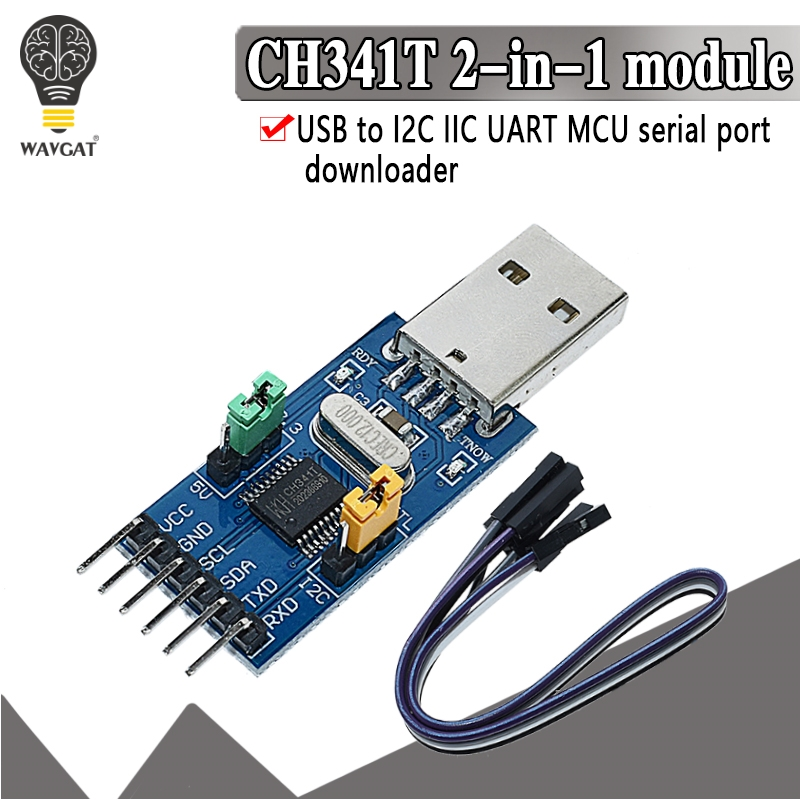 CH341T 2 in 1 module 3.3V 5V USB to I2C IIC UART USB to TTL single-chip serial port downloader