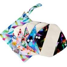 5 шт многоразовые прокладки с 1 влажной сумкой, водонепроницаемые тканевые гигиенические прокладки, менструальные прокладки с органической бамбуковой подкладкой