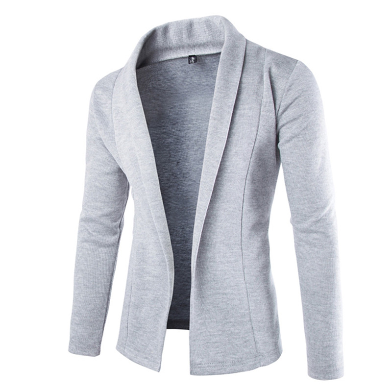 Mens Solid Blazer Cardigan Long Sleeve Casual Slim Fit Sweater Jacket Knit Coat FDC99