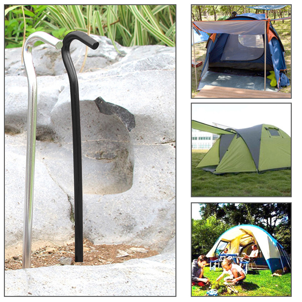 Quality Yes QY 4PCS Black 7Inches All Purpose Deep Triangular Aluminum Camping Tent Stakes Metal Anchor Peg Lawn Stakes