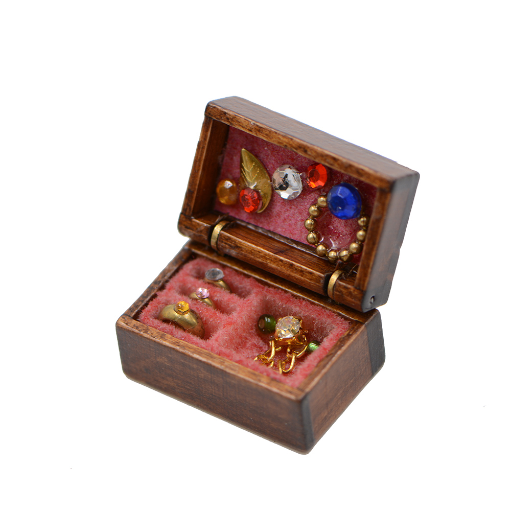 1//12 Wooden Filled Jewelry Box Miniature Chest Case Dollhouse Decor Accessories