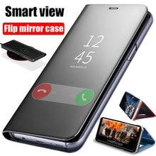 สมาร์ทMirror Flip CaseสำหรับSamsung Galaxy Note 10 9 8 S10 S9 S8 PLUS S7 A9 A7 A8 2018 a10 A20 A30 A50 A60 A80 A70 M10 A20Eฝาครอบ